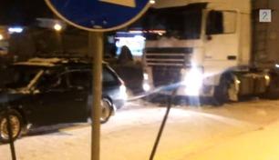 Trekker løs 60-tonns vogntog – med pappas personbil
