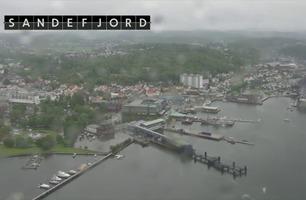 Se hvalfangerbyen Sandefjord fra lufta