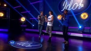 Agarshan (5806), Joakim (5808) og Jørn (5086) synger i Idol