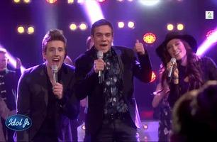 Idol-finalistene synger «On Top Of The World» med Idol Junior-semifinalistene