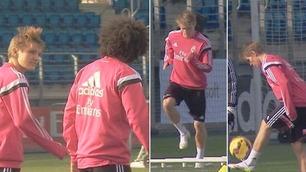 Se den første videoen av Martin Ødegaard som trener med Real Madrid-stjernene