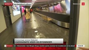 TORP: Ankomsthallen på flyplassen ble fyllt med vann