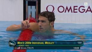 Se Michael Phelps vinne sitt 22. OL-gull på 200 meter medley i overlegen stil!