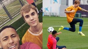 Se Bieber trene med Barcelona-stjernene