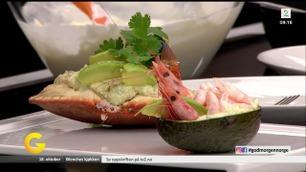 Fylt avokado med reker og krabbe