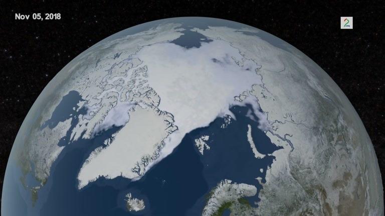 Slik vokser isdekket i Arktis på vinteren